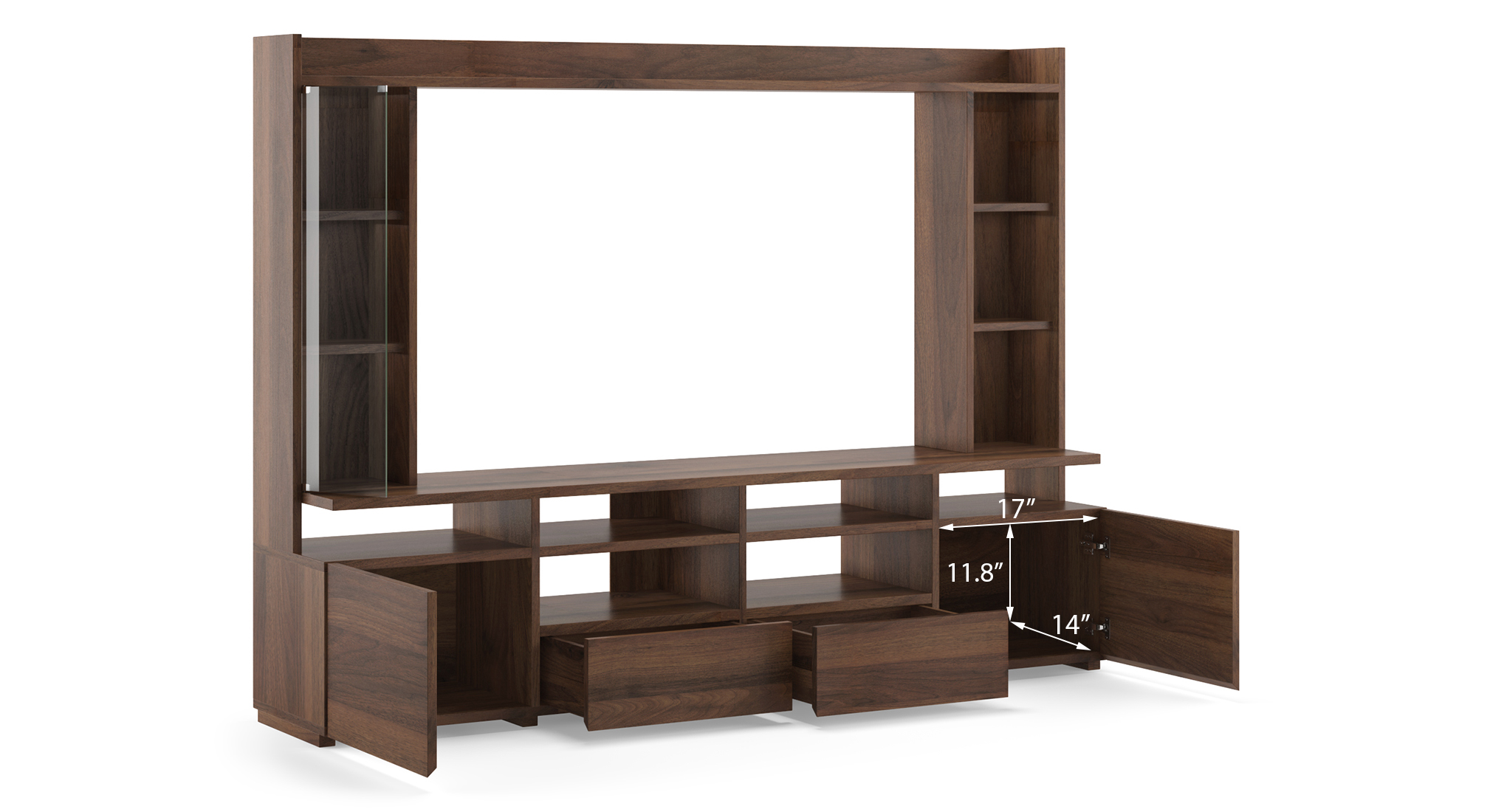 Celestin tv unit 74 inch columbian walnut new