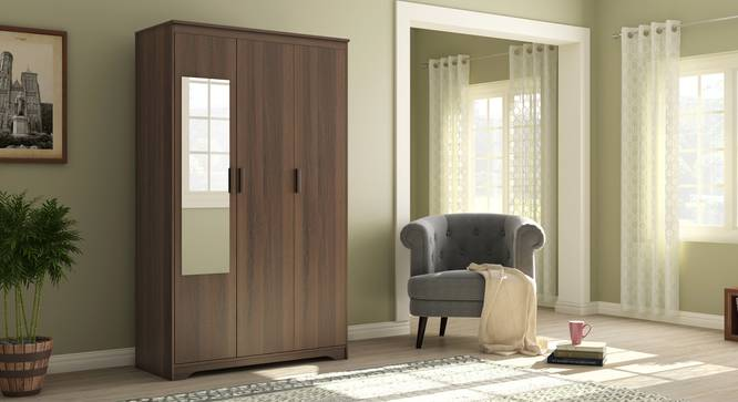 Hilton 3 Door Wardrobe (Without Drawer Configuration, Columbian Walnut Finish) by Urban Ladder