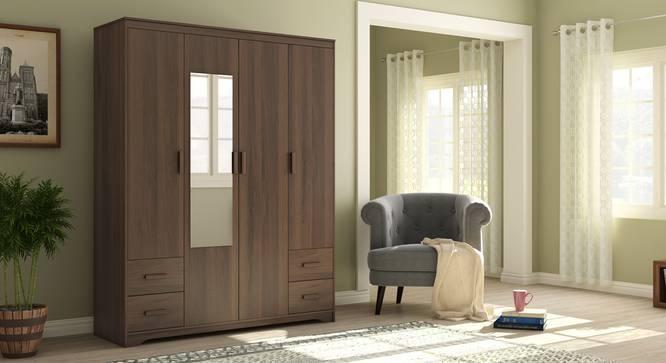 Hilton 4 Door Wardrobe (4 Drawer Configuration, Columbian Walnut Finish) by Urban Ladder
