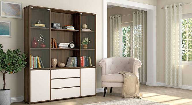 Iwaki Bookshelf With Glass Door (3 Drawer Configuration, 110 Book Book Capacity, Columbian Walnut Finish) by Urban Ladder