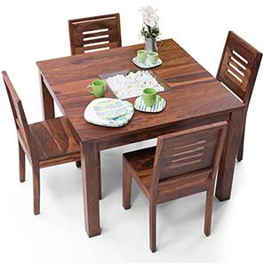 Brighton Square - Capra 4 Seater Dining Table Set (Teak Finish) by Urban Ladder - - 29207
