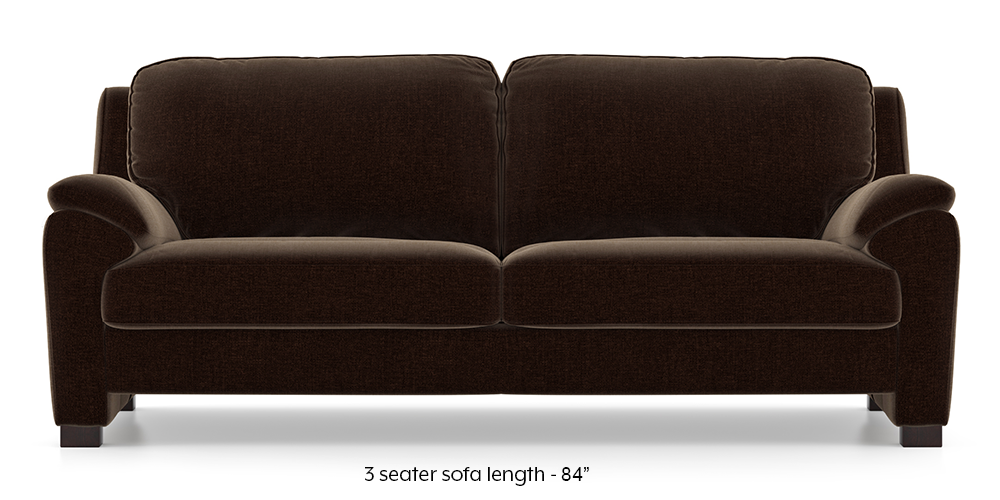 Farina Sofa (Dark Earth) (3-seater Custom Set - Sofas, None Standard Set - Sofas, Dark Earth, Fabric Sofa Material, Regular Sofa Size, Regular Sofa Type) by Urban Ladder - - 292452