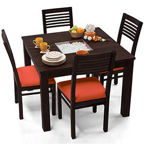 Brighton Square - Zella 4 Seater Dining Table Set (Mahogany Finish, Burnt Orange) by Urban Ladder
