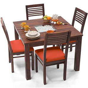 Brighton Square - Zella 4 Seater Dining Table Set (Teak Finish, Burnt Orange) by Urban Ladder - - 29293