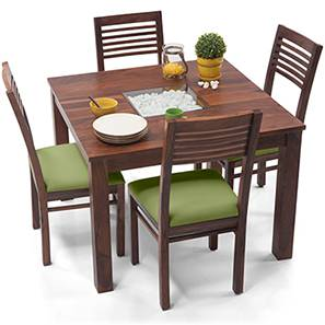 Brighton Square - Zella 4 Seater Dining Table Set (Teak Finish, Avocado Green) by Urban Ladder