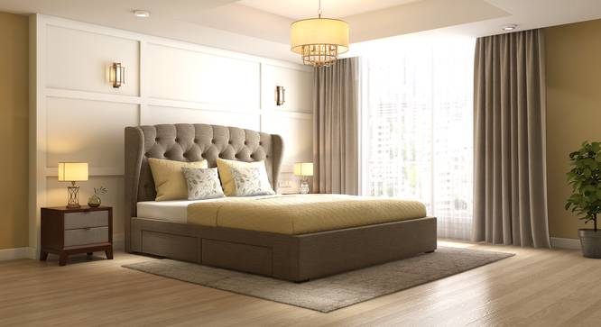 Holmebrook Upholstered Bed (King Bed Size, Mist Brown) by Urban Ladder