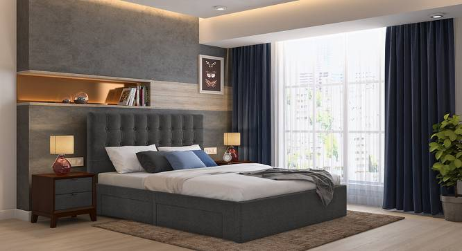 Linacre Upholstered Storage Bed (Queen Bed Size, Charcoal Grey) by Urban Ladder