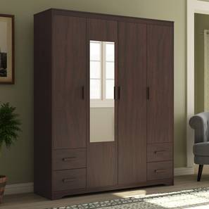 Hilton 4 Door Wardrobe (4 Drawer Configuration, Smoked Walnut Finish) by Urban Ladder