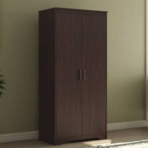 Hilton 2 Door Wardrobe (Without Mirror, Without Drawer Configuration, 6 Feet Height, Smoked Walnut Finish) by Urban Ladder - Design 1 Full View - 293318