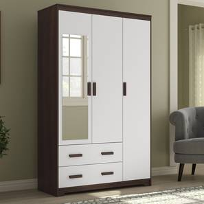 Miller 3 Door Wardrobe (2 Drawer Configuration, Smoked Walnut Finish) by Urban Ladder