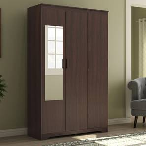 Hilton 3 Door Wardrobe (Without Drawer Configuration, Smoked Walnut Finish) by Urban Ladder - Design 1 Full View - 293363