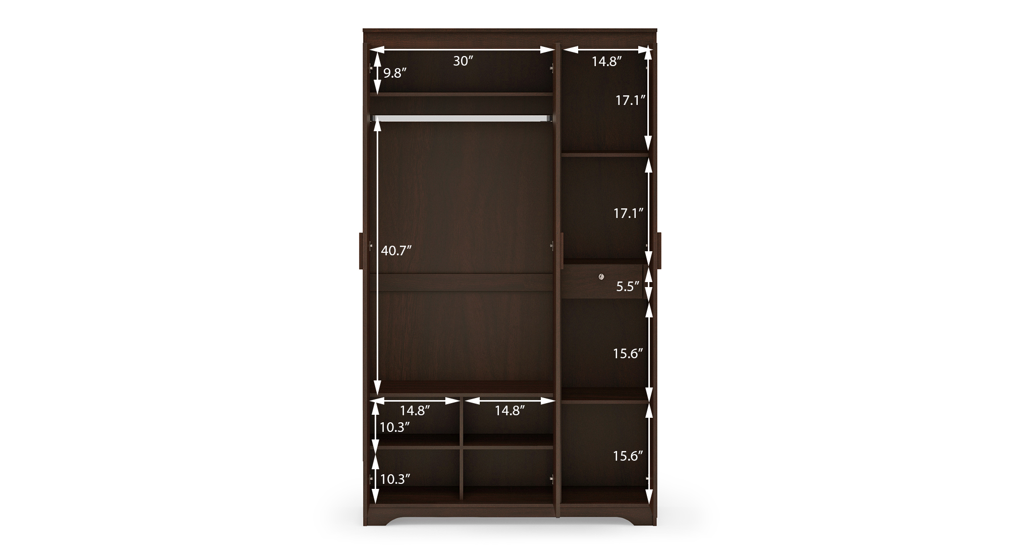 Hilton 3 door wardrobe without drawer dimension 1