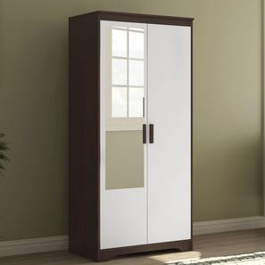 Miller 2 Door Wardrobe (With Mirror, Without Drawer Configuration, 6 Feet Height, Smoked Walnut Finish) by Urban Ladder