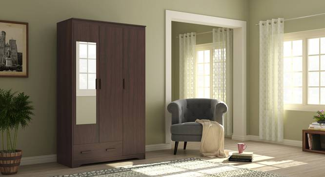 Hilton 3 Door Wardrobe (1 Drawer Configuration, Smoked Walnut Finish) by Urban Ladder - Design 1 Full View - 293389