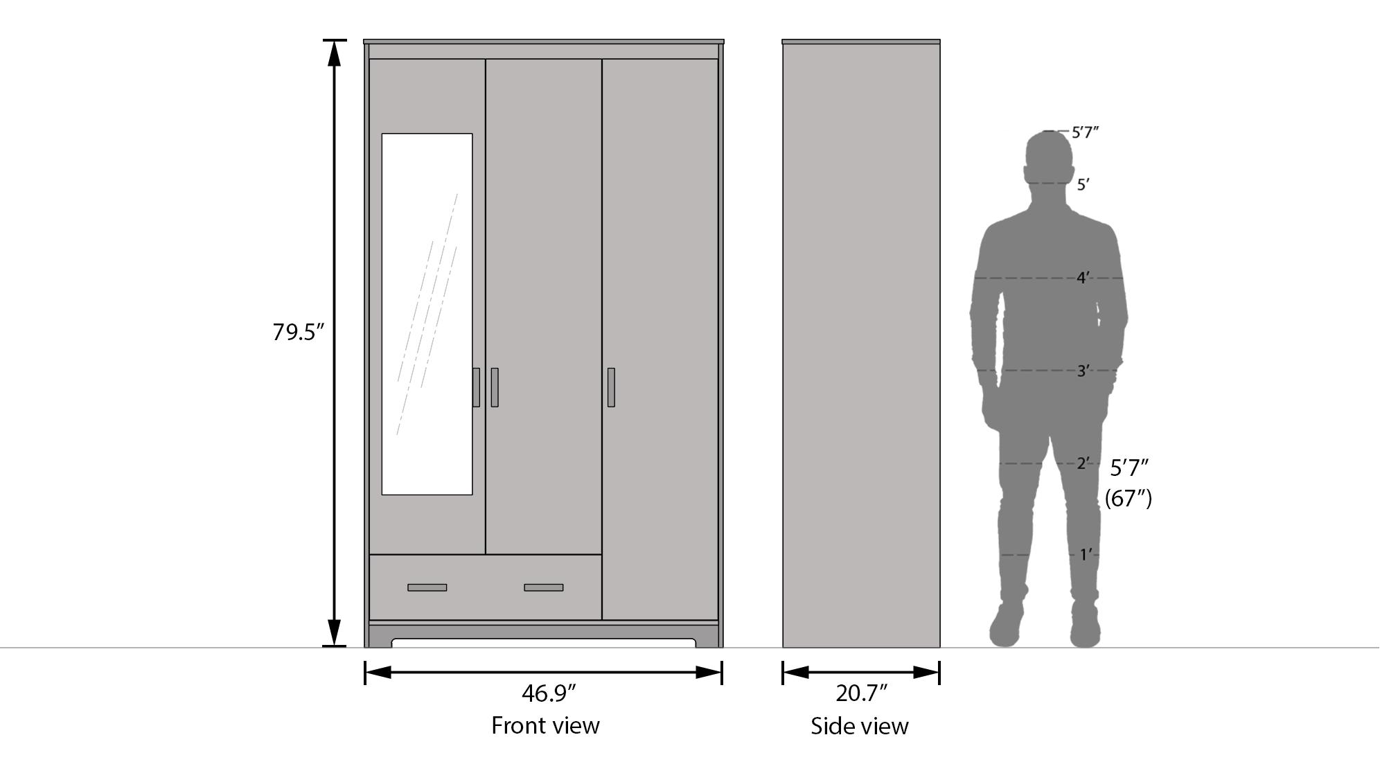 Hilton 3 door wardrobe 1 drawer dimension 1