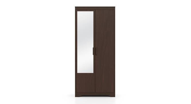 Hilton 2 Door Wardrobe (With Mirror, Without Drawer Configuration, 6 Feet Height, Smoked Walnut Finish) by Urban Ladder