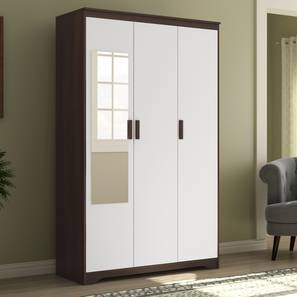 Miller 3 Door Wardrobe (Without Drawer Configuration, Smoked Walnut Finish) by Urban Ladder