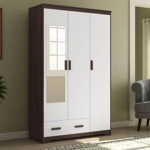 Miller 3 Door Wardrobe (1 Drawer Configuration, Smoked Walnut Finish) by Urban Ladder
