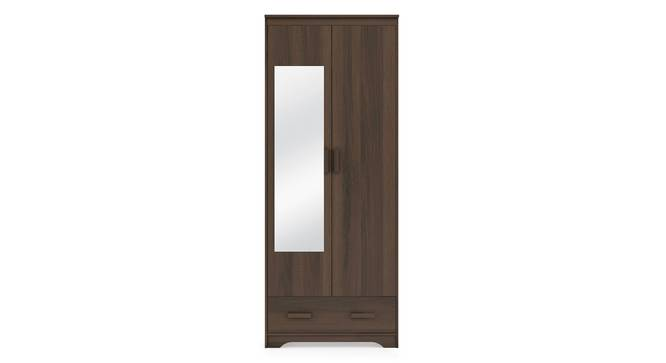 Hilton 2 Door Wardrobe (With Mirror, With Drawer Configuration, 7 Feet Height, Columbian Walnut Finish) by Urban Ladder