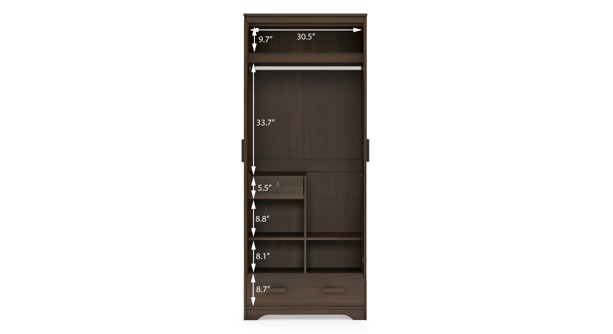 Hilton 2 door 1 drawer wardrobe 8