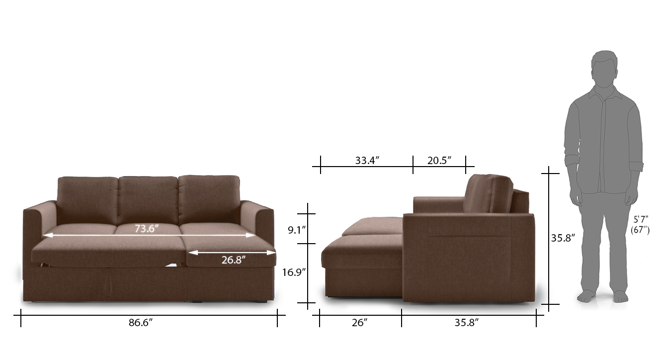 Kowloon sectional sofa bed brown 22