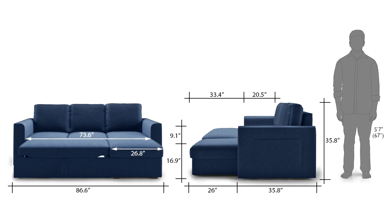 Kowloon sectional sofa bed blue 22