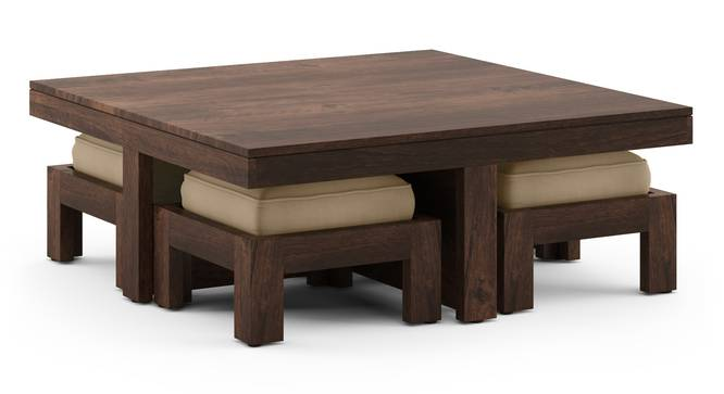 Kivaha 4-Seater Coffee Table Set (Walnut Finish, Beige) by Urban Ladder