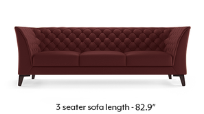 Weston Half Leather Sofa (Wine Italian Leather)