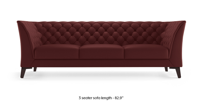 Weston Half Leather Sofa (Wine Italian Leather) (3-seater Custom Set - Sofas, None Standard Set - Sofas, Regular Sofa Size, Regular Sofa Type, Leather Sofa Material, Wine)