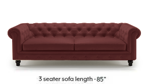 Winchester Half Leather Sofa (Wine Italian Leather)