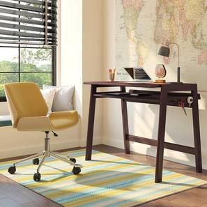 James - Abigail Study Set (Yellow, Dark Walnut Finish) by Urban Ladder