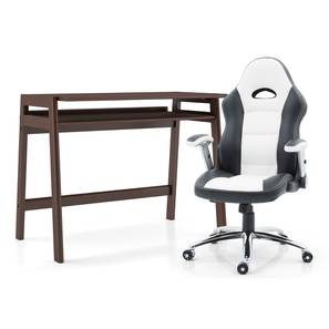 James - Mika Study Set (White, Dark Walnut Finish) by Urban Ladder