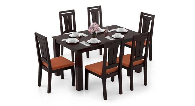 Arabia - Martha 6 Seater Dining Table Set (Mahogany Finish, Burnt Orange) by Urban Ladder - Design 1 Full View - 295925