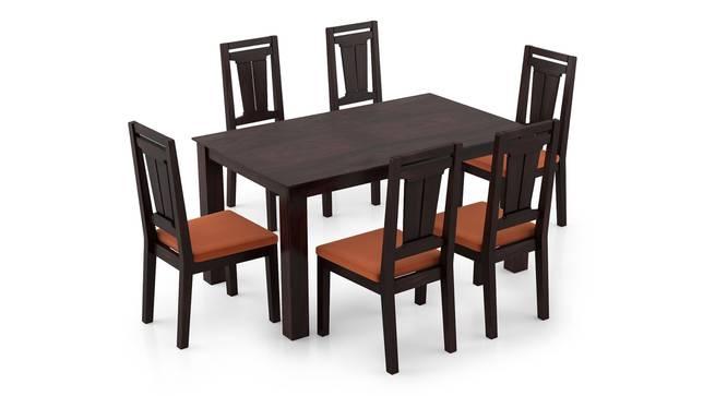 Arabia - Martha 6 Seater Dining Table Set (Mahogany Finish, Burnt Orange) by Urban Ladder - Front View Design 1 - 295926