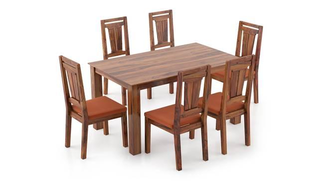 Arabia - Martha 6 Seater Dining Table Set (Teak Finish, Burnt Orange) by Urban Ladder - Front View Design 1 - 295935