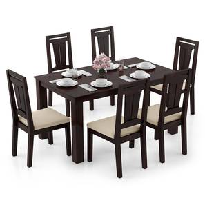 Arabia - Martha 6 Seater Dining Table Set (Mahogany Finish, Wheat Brown) by Urban Ladder - Design 1 Full View - 295943