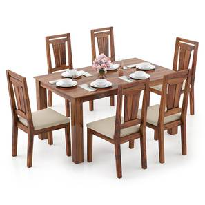 Arabia - Martha 6 Seater Dining Table Set (Teak Finish, Wheat Brown) by Urban Ladder - Design 1 Full View - 295952