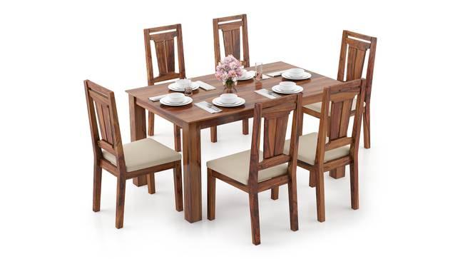 Arabia - Martha 6 Seater Dining Table Set (Teak Finish, Wheat Brown) by Urban Ladder - Design 1 Full View - 295952