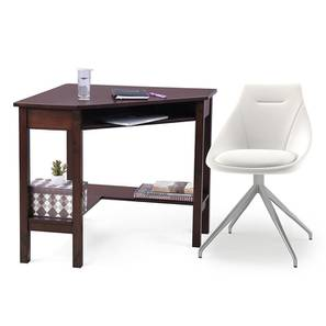 Collins - Doris Study Set (Dark Walnut Finish, White Leatherette) by Urban Ladder - Design 1 Full View - 296387