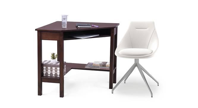 Collins - Doris Study Set (Dark Walnut Finish, White Leatherette) by Urban Ladder - Design 1 Full View - 296387