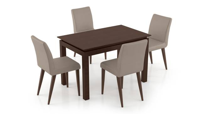 Diner - Persica 4 Seater Dining Table Set (Beige, Dark Walnut Finish) by Urban Ladder - Front View Design 1 - 296840