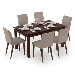 Diner - Persica 6 Seater Dining Table Set (Beige, Dark Walnut Finish) by Urban Ladder - Design 1 Full View - 296850