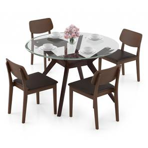 Wesley - Lawson 4 Seater Dining Table Set (Dark Walnut Finish, Dark Brown) by Urban Ladder - Design 1 Full View - 296911