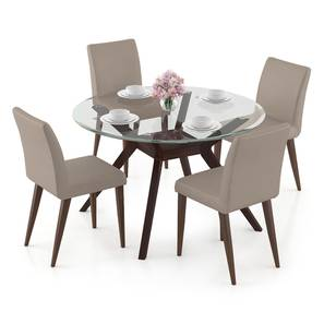Wesley - Persica 4 Seater Dining Table Set (Beige, Dark Walnut Finish) by Urban Ladder