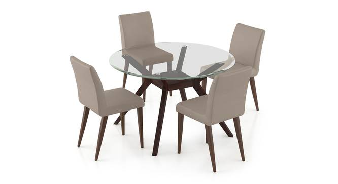 Wesley - Persica 4 Seater Dining Table Set (Beige, Dark Walnut Finish) by Urban Ladder - Front View Design 1 - 296923