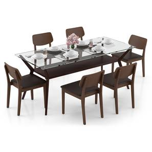 Wesley - Lawson 6 Seater Dining Table Set (Dark Walnut Finish, Dark Brown) by Urban Ladder - Design 1 Full View - 296933