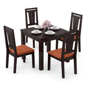 Arabia Storage - Martha 4 Seater Dining Table Set (Mahogany Finish, Burnt Orange) by Urban Ladder - Design 1 Full View - 296944