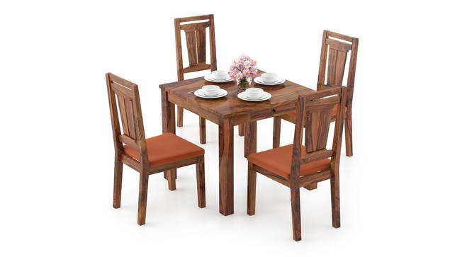 Arabia Storage - Martha 4 Seater Dining Table Set (Teak Finish, Burnt Orange) by Urban Ladder - Design 1 Full View - 296954