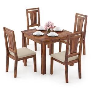 Arabia Storage - Martha 4 Seater Dining Table Set (Teak Finish, Wheat Brown) by Urban Ladder