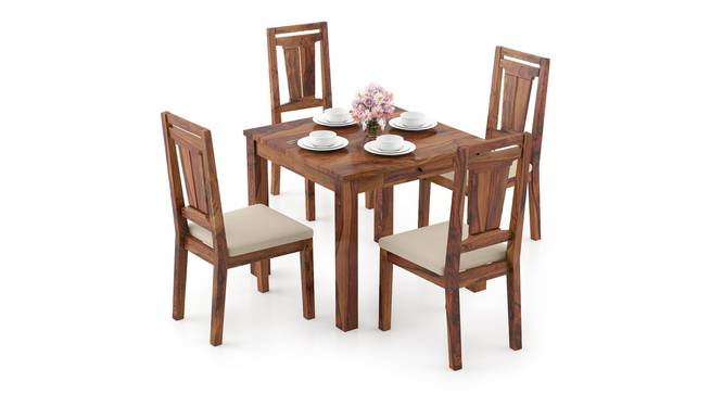 Arabia Storage - Martha 4 Seater Dining Table Set (Teak Finish, Wheat Brown) by Urban Ladder - Design 1 Full View - 296974